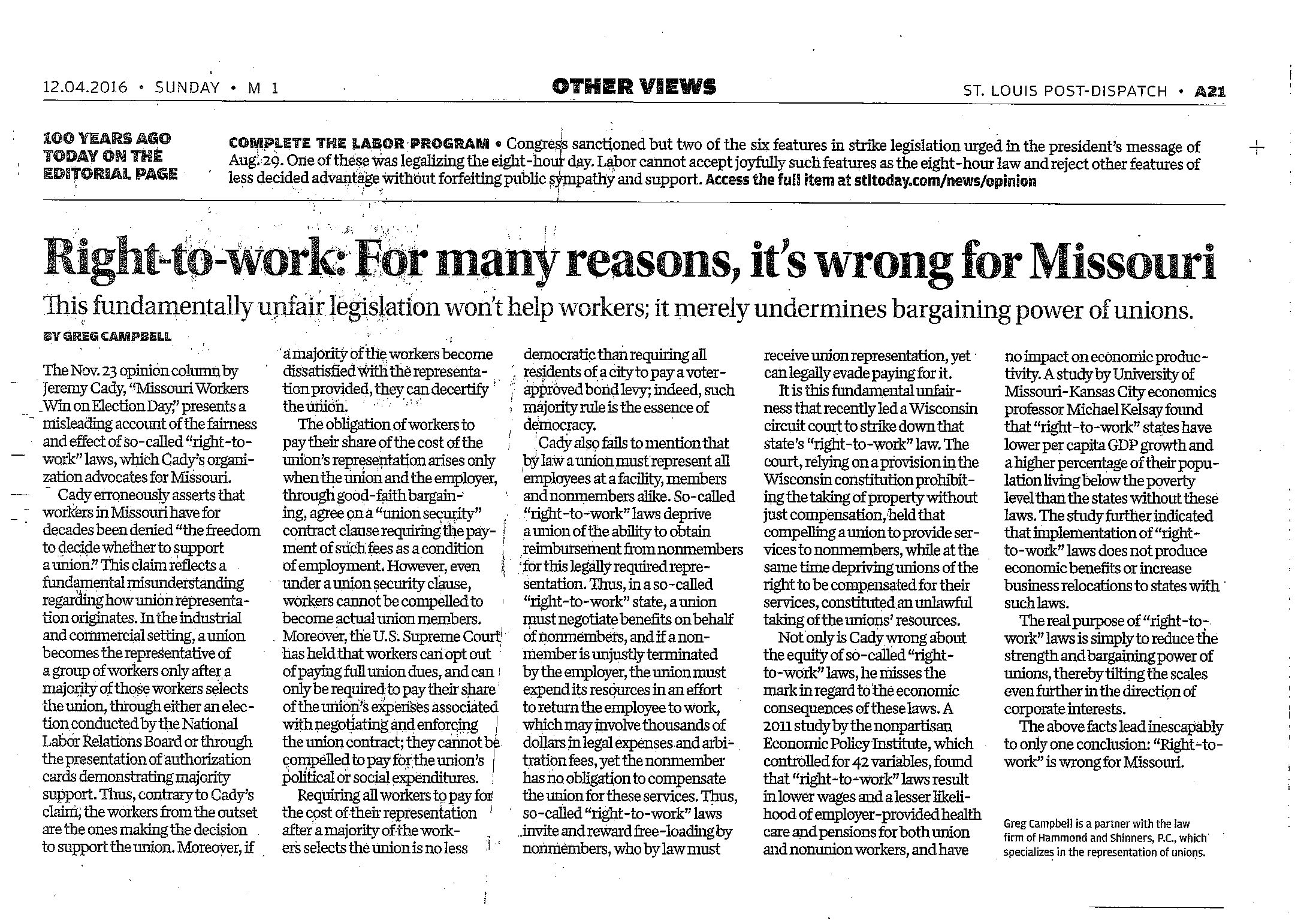 Right-to-work: For many reasons, it's wrong for Missouri